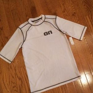 Boys Old Navy white rashgaurd.